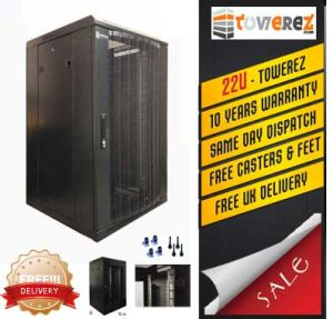 TOWEREZ ® - PREBUILT 22U Server Cabinet 600 (W) x 1000 (D) x 1200 (H)  Vented Front Door
