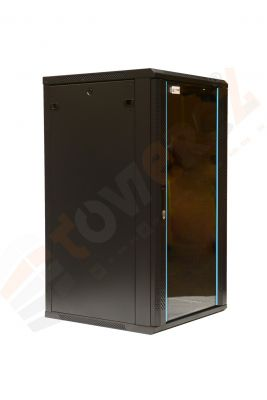TOWEREZ ® 18U Wall Mounted Server Cabinet 600 (W) x 600 (D)x 1000 (H) Glass Front Door Black