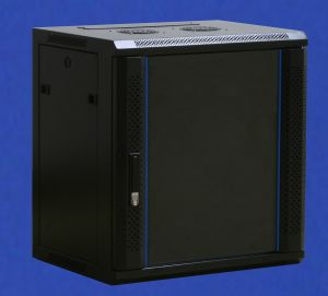 TOWEREZ ® FLAT PACK - 9U Wall Mounted Server Cabinet 600 (W) x 600 (D)x 500 (H) Glass Front Door Black
