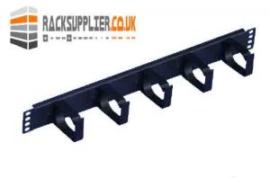 1U Server Rack Cable Management Bar with 5 Cable Tidy Loops - Plastic