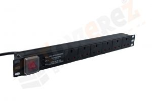Horizontal 1U 6 Way Rack Mount Power Distribution Unit 1.8m  - UK PDU